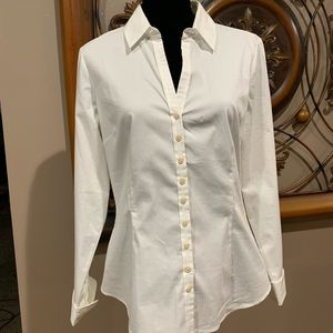 White dress shirt with gold buttons